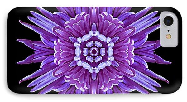 Violet Chrysanthemum Iv Flower Mandala Phone Case by David J Bookbinder