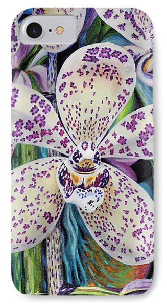 IPhone Case featuring the painting Violet Dotted Orchid by Jane Girardot