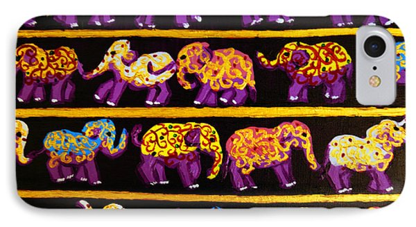 IPhone Case featuring the painting Violet Elephants by Cassandra Buckley