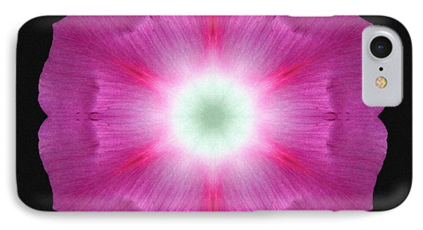 Violet Morning Glory Flower Mandala Phone Case by David J Bookbinder