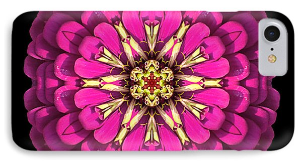 Violet Zinnia Elegans Flower Mandala Phone Case by David J Bookbinder