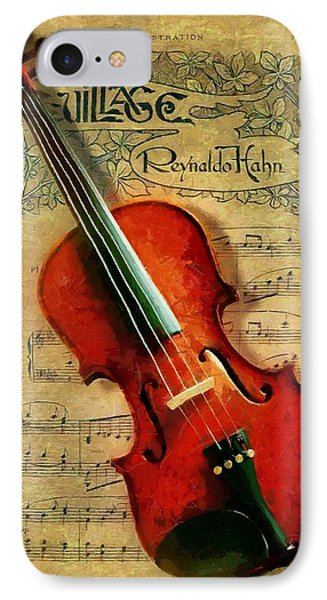 IPhone Case featuring the painting Violin And Notes by Kai Saarto