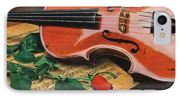 IPhone Case featuring the painting Violin And Rose by Glenn Beasley