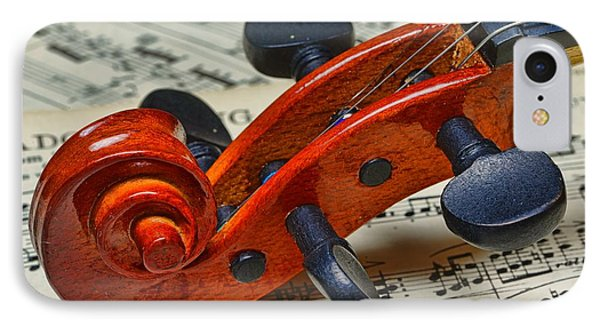 Violin Scroll Up Close IPhone Case by Paul Ward