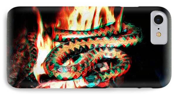 IPhone Case featuring the digital art Viper In Flames - 3d Anaglyph by Daniel Janda