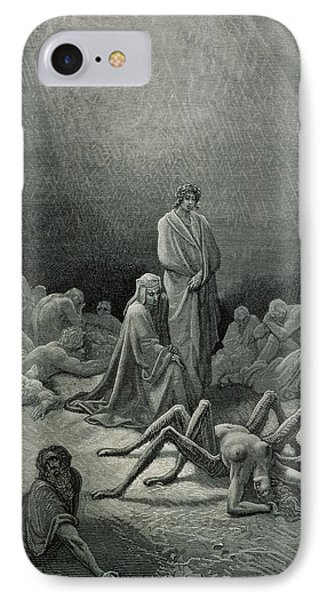 Punishment iPhone 7 Case - Virgil And Dante Looking At The Spider Woman, Illustration From The Divine Comedy by Gustave Dore