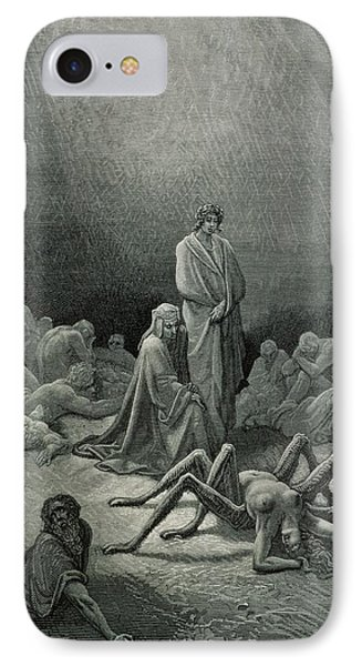 Virgil And Dante Looking At The Spider Woman, Illustration From The Divine Comedy IPhone Case