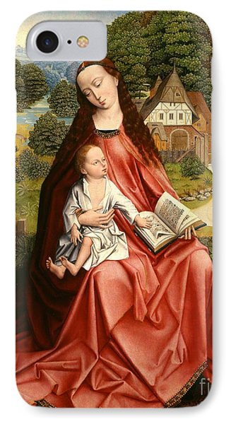 Virgin And Child In A Landscape IPhone Case by Master of the Embroidered Foliage