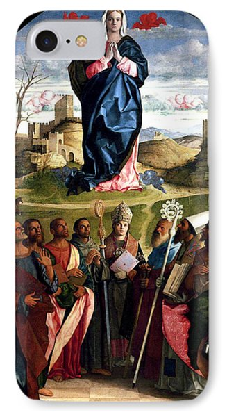 IPhone Case featuring the painting Virgin In Glory With Saints 1515 Giovanni Bellini by Karon Melillo DeVega