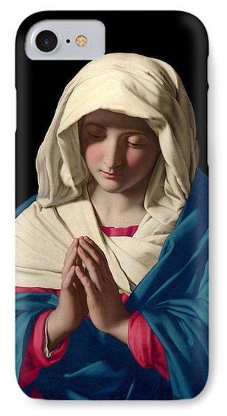 Virgin Mary In Prayer IPhone Case by Sassoferrato