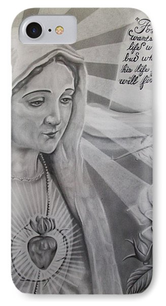 Virgin Mary With Flower Phone Case by Anthony Gonzalez