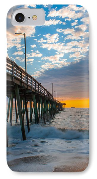 IPhone Case featuring the photograph Virginia Beach Pier Into The Sun by Dawn Romine