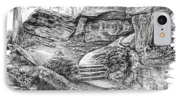 IPhone Case featuring the drawing Virginia Kendall Ledges - Cuyahoga Valley National Park by Kelli Swan