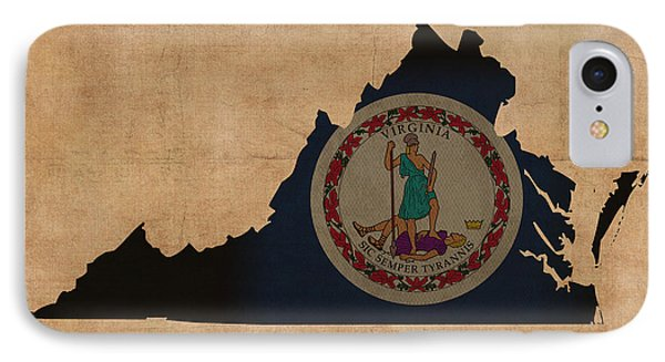 Virginia State Flag Map Outline With Founding Date On Worn Parchment Background IPhone Case by Design Turnpike
