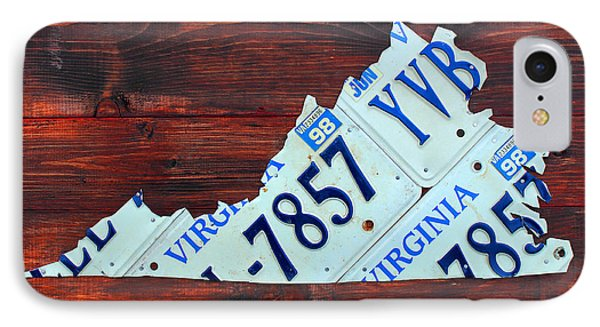 Virginia State License Plate Map Art On Fruitwood Old Dominion IPhone Case by Design Turnpike