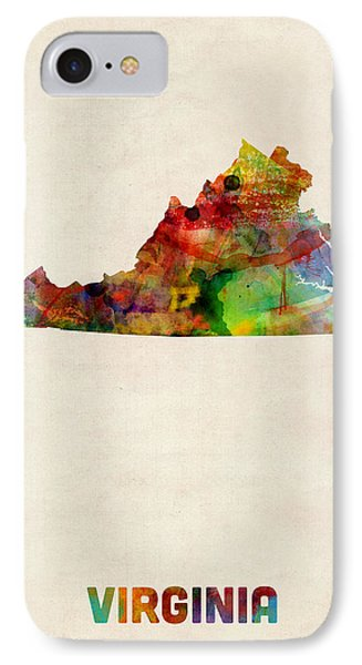 Virginia Watercolor Map IPhone Case by Michael Tompsett