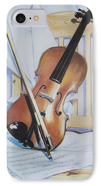 IPhone Case featuring the mixed media Virginia's Violin by Constance Drescher