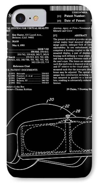 Virtual Reality Helmet Patent - Black IPhone Case by Finlay McNevin