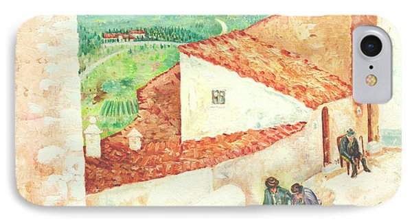 IPhone Case featuring the painting Vista Cimitero - Forenza by Giovanni Caputo