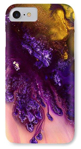 Vivid Abstract Art Purple Fugitive-gold Tones Fluid Painting By Kredart IPhone Case by Serg Wiaderny