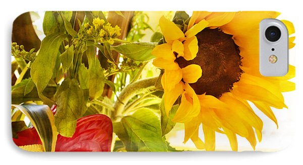 Vivid Cheery Sunflower Bouquet IPhone Case by Maria Janicki