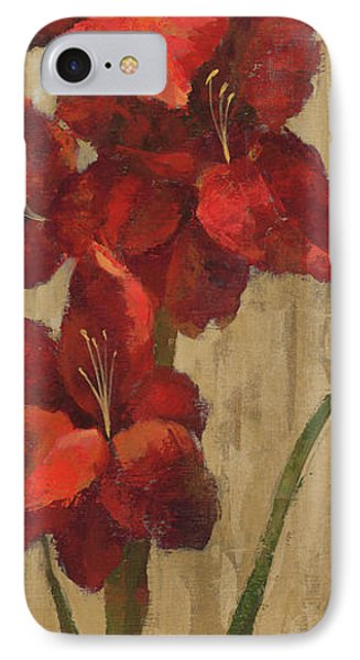 Vivid Red Gladiola On Gold IPhone Case by Silvia Vassileva