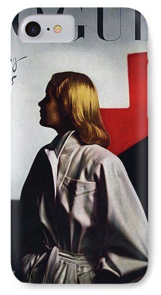 Vogue Cover Featuring A Model Wearing A White IPhone Case by Horst P. Horst