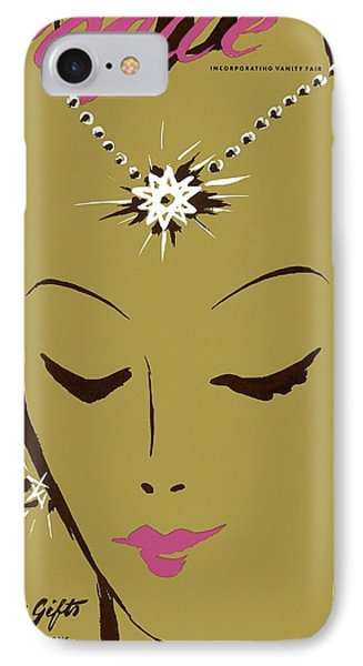 Vogue Cover Illustration Of A Woman Wearing Star IPhone Case by Eduardo Garcia Benito