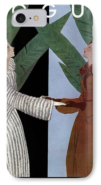 Vogue Cover Illustration Of Two Women Holding IPhone Case by Georges Lepape