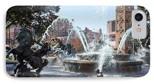 Jc Nichols Memorial Fountain In Blue IPhone Case by Ellen Tully