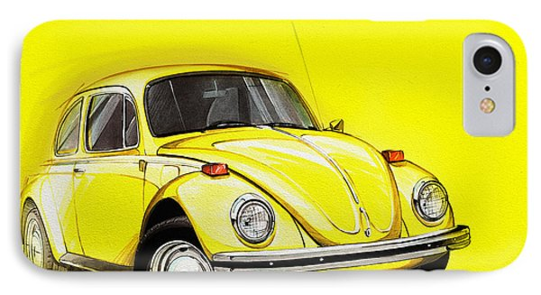 Volkswagen Beetle Vw Yellow IPhone Case by Etienne Carignan