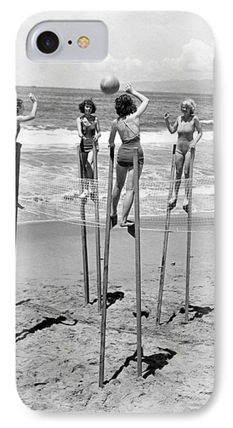 Volleyball On Stilts IPhone Case by Underwood Archives