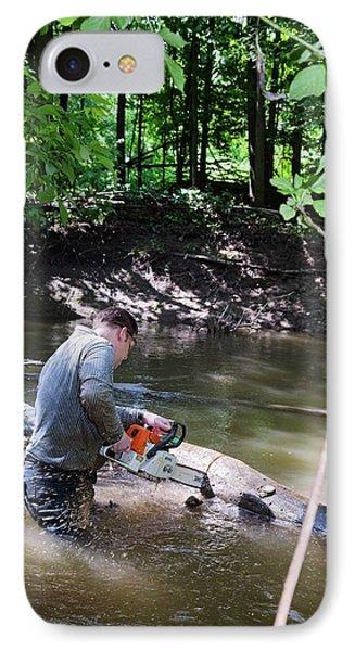 Volunteer Clearing Log Jam IPhone Case by Jim West