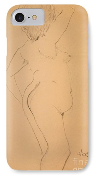 IPhone Case featuring the drawing Voluptuous Nude by Gabrielle Schertz