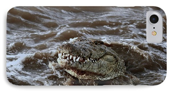 Voracious Crocodile In Water IPhone Case