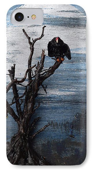 Vulture With Blue Moon IPhone Case by Roger Swezey