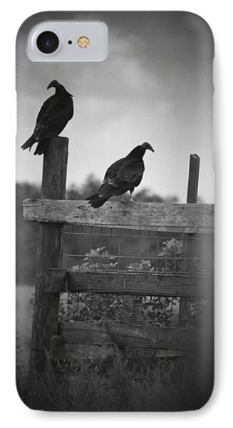 Vultures On Fence IPhone Case by Bradley R Youngberg