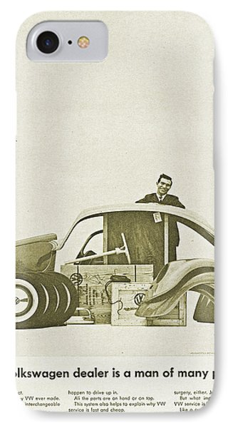 Vw Beetle Advert 1962 - A Volkswagen Dealer Is A Man Of Many Parts IPhone Case by Georgia Fowler