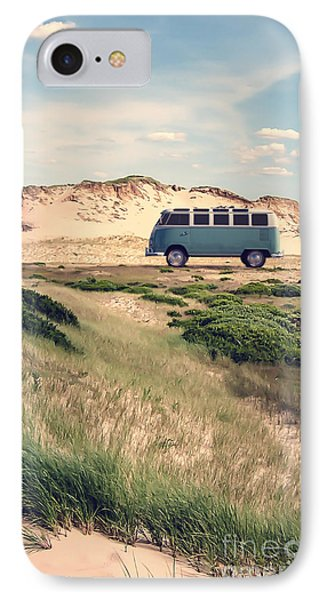 Vw Surfer Bus Out In The Sand Dunes Phone Case by Edward Fielding