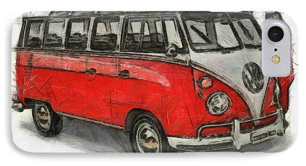 IPhone Case featuring the painting Vw Van - Red Art Print by Georgi Dimitrov