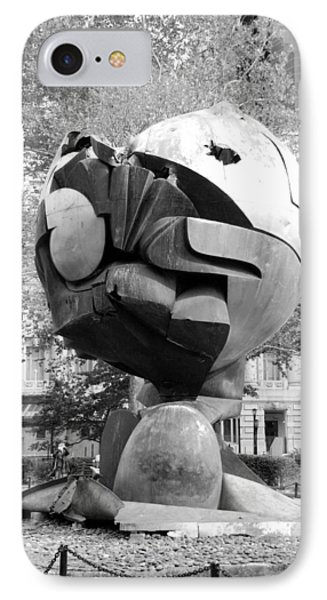 W T C Fountain Sphere In Black And White Phone Case by Rob Hans