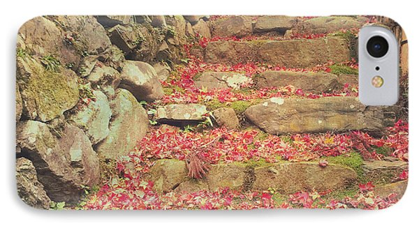 Wabi-sabi Rubble Masonry Bamboo Fence Fallen Leaves IPhone Case