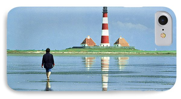 Wadden Sea With Westerhever Lighthouse IPhone Case by Heiko Koehrer-Wagner