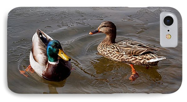 Wading Ducks IPhone Case by Rona Black