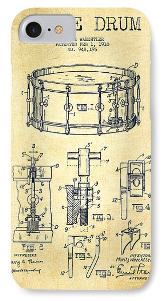 Folk Art iPhone 7 Case - Waechtler Snare Drum Patent Drawing From 1910 - Vintage by Aged Pixel
