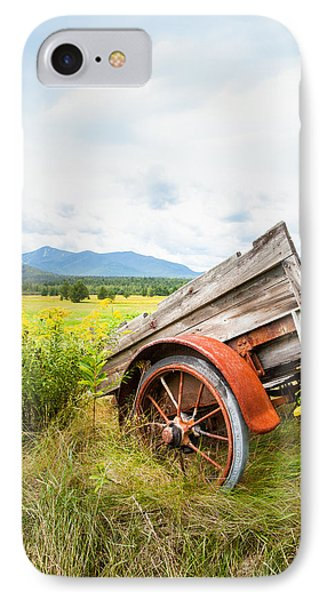 IPhone Case featuring the photograph Wagon And Wildflowers - Vertical Composition by Gary Heller
