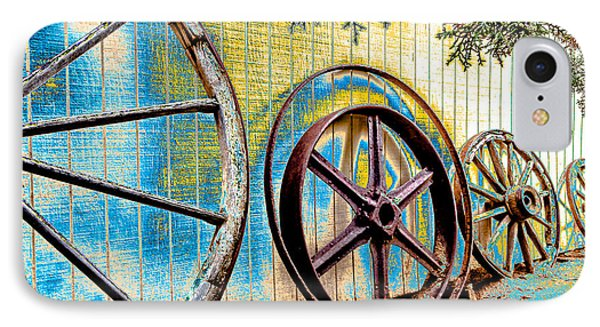 IPhone Case featuring the photograph Wagon Wheel Art by Beverly Parks