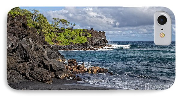 Waianapanapa State Park's Black Sand Beach Maui Hawaii IPhone Case by Edward Fielding