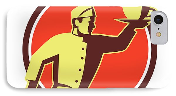 Waiter Serving Coffee Cup Retro IPhone Case