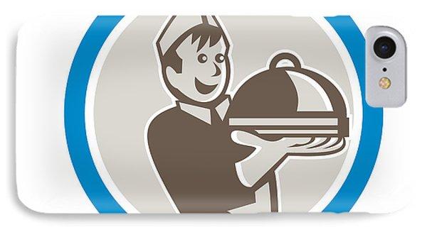 Waiter Serving Food On Platter Retro IPhone Case